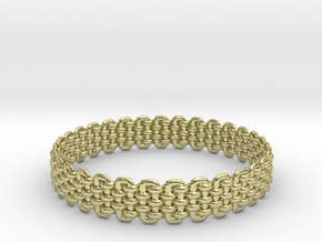 Wicker Pattern Bracelet Size 3 in 18k Gold Plated Brass