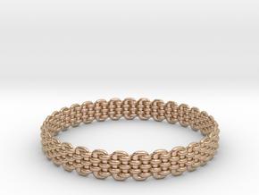 Wicker Pattern Bracelet Size 8 or USA Medium Size in 14k Rose Gold Plated Brass