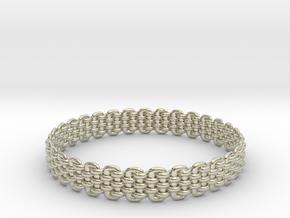 Wicker Pattern Bracelet Size 7 or USA Small Size in 14k White Gold