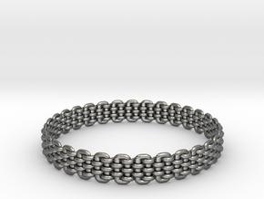 Wicker Pattern Bracelet Size 8 or USA Medium Size in Fine Detail Polished Silver