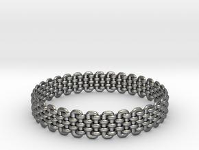Wicker Pattern Bracelet Size 3 in Fine Detail Polished Silver