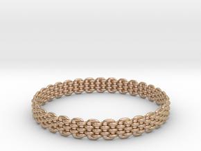 Wicker Pattern Bracelet Size 11 in 14k Rose Gold