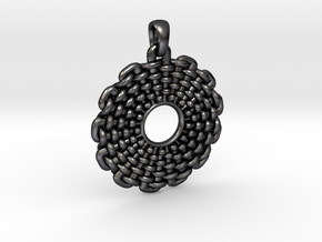 Wicker Pattern Pendant Small in Polished and Bronzed Black Steel