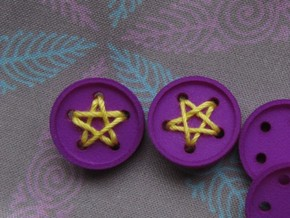 """5/8"""" five-holed buttons (two) in Blue Processed Versatile Plastic"""
