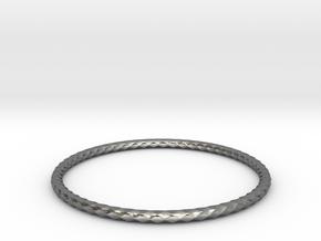 Diamond Pattern Bracelet USA Size X-Large in Fine Detail Polished Silver