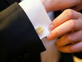 Nautical Turk's Head Knot Cufflinks in 18k Gold Plated Brass