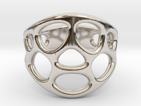 Cell Ring in Rhodium Plated Brass: 6 / 51.5
