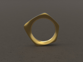 """""""FACET""""_Women ring in Polished Gold Steel"""