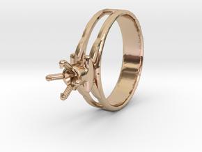 Design Ring 18.20 Mm For Diamond 5.2 Mm Model Futu in 14k Rose Gold Plated Brass