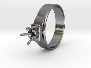 Design Ring Ø18.20 Mm For Diamond Ø5.2 Mm Model F2 in Polished Silver