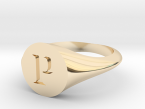 Letter P - Signet Ring Size 6 in 14k Gold Plated Brass