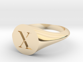 Letter X - Signet Ring Size 6 in 14k Gold Plated