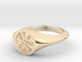 Icelandic Compass Signet Ring in 14k Gold Plated Brass