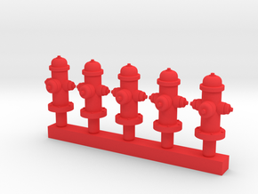 Fire Hydrant 'O' 48:1 Scale Qty (5) in Red Processed Versatile Plastic