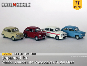 SET 4x Fiat 600 (TT 1:120) in Smooth Fine Detail Plastic