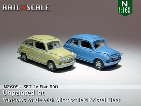SET 2x Fiat 600 (N 1:160) in Smooth Fine Detail Plastic