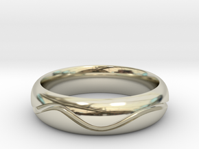 Mans Wave Wedding Band in 14k White Gold