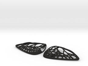 Metal Butterfly Earrings (L) in Black Natural Versatile Plastic