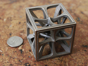 Hexahedron in Polished Bronzed Silver Steel: Medium