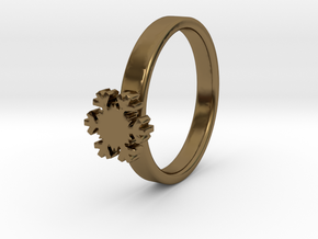 Snowflake Ring 20 Mm in Polished Bronze