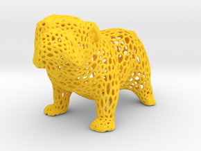 Bulldog Voronoi 45mm in Yellow Processed Versatile Plastic