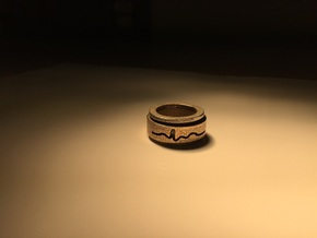 ECG spinner ring (outer ring part 2 of 3) in Polished Bronzed Silver Steel