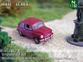 Fiat 600D (N 1:160) in Smooth Fine Detail Plastic