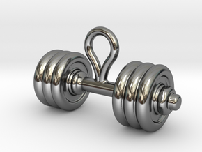 Small Dumbbell Earring in Fine Detail Polished Silver