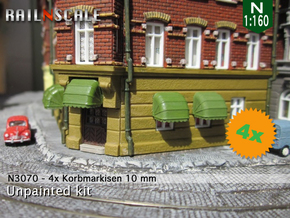 4x Korbmarkise 10 mm (N 1:160) in Smooth Fine Detail Plastic
