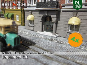 4x Korbmarkise rund 10 mm (N 1:160) in Smooth Fine Detail Plastic