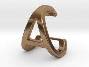 AC CA - Two way letter pendant in Natural Brass