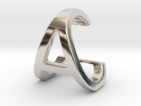 AC CA - Two way letter pendant in Rhodium Plated Brass