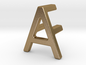 AF FA - Two way letter pendant in Polished Gold Steel