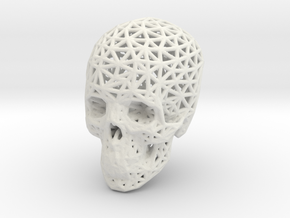 Skull Wireframe 90mm in White Strong & Flexible