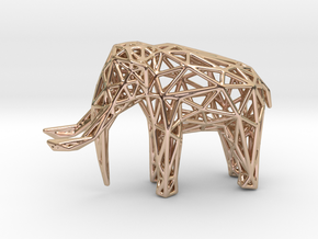 Elephant Wireframe 50mm in 14k Rose Gold Plated Brass