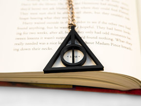 Deathly Hallows Rotating Pendant in Black Natural Versatile Plastic