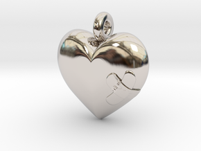 Wounded Heart Pendant in Rhodium Plated Brass