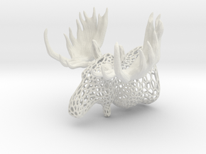 Moose Trophy Voronoi 100mm in White Natural Versatile Plastic