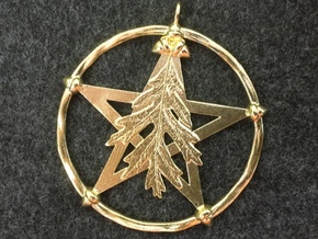 Oak Leaf Pentacle Pendant in Natural Brass