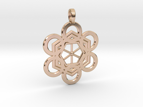 META-ENERGY GRID in 14k Rose Gold Plated Brass
