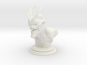 Demon head bust 01 in White Natural Versatile Plastic