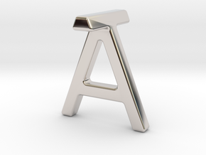 AT TA - Two way letter pendant in Rhodium Plated Brass