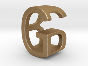 Two way letter pendant - BG GB in Matte Gold Steel