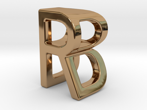 Two way letter pendant - BR RB in Polished Brass