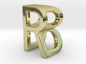 Two way letter pendant - BR RB in 18k Gold Plated Brass