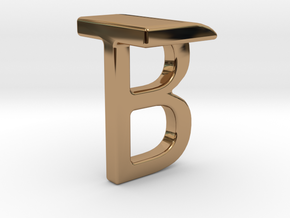Two way letter pendant - BT TB in Polished Brass