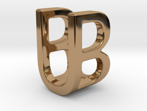 Two way letter pendant - BU UB in Polished Brass