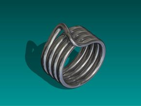 Continuous Coiled Ring-Size 10 in Polished Bronzed Silver Steel
