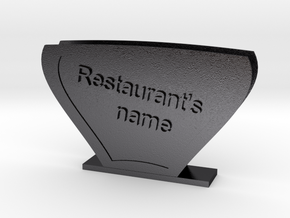Carry Handkerchiefs with name of Restaurant  in Polished and Bronzed Black Steel