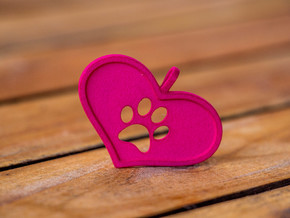 Paw in heart in Pink Processed Versatile Plastic